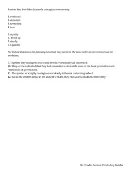 Mr. Fowles Grade 8 General Vocabulary Builder 4