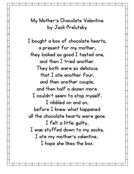 My Mother S Chocolate Valentine By Jack Prelutsky Poetry Center Pack