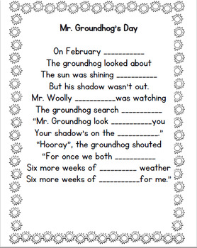 Mr. Groundhog's Day Poetry Center Pack