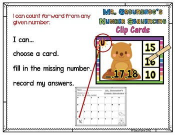 Mr. Groundhog's Number Order 1-30 Clip Cards  Kindergarten Preschool Math