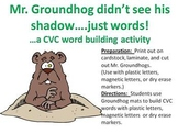 Mr. Groundhog sees words not shadows....A CVC Word Building Activity