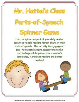 Mr. Hattal's Class Parts of Speech Spinner Game