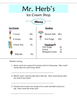 Mr. Herb's Ice Cream Shop: Counting Money