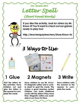 Word Spell Activity (Long Vowel Words)