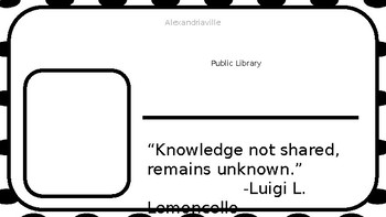 Mr. Lemoncello's Library - Create Your Own Library Card