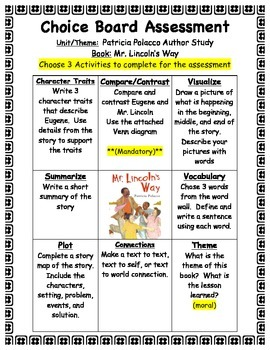 Mr. Lincoln's Way Choice Board Assessment- Patricia Polacco