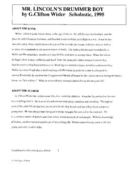 Mr. Lincoln's Drummer Boy Literature Guide