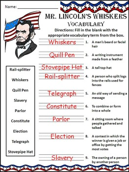 President's Day & Inauguration Reading Activities: Mr. Lincoln's Whiskers Packet