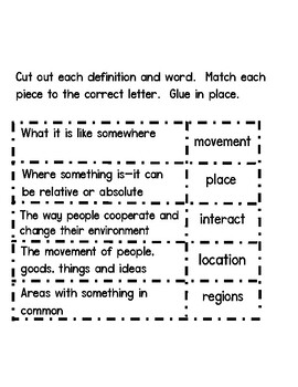 Mr. Lip Five Themes of Geography Sorting Activity