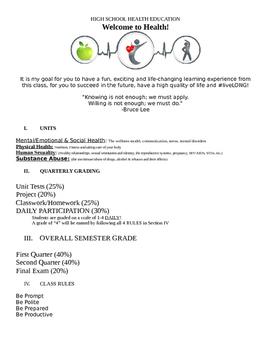 Mr. Long's Health Class Outline (Grades 9-12)