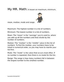 Mr. Math (Max, Min, Mean, Med, Mode, Range)
