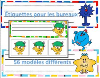 Mr Men & Little Miss School Desk Name - 56 models