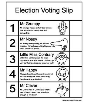 Mr Men & Little Miss Voting Slip