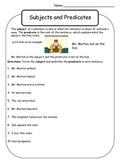 Subject and Predicate Worksheet - Mr. Morton