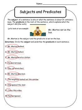 Subject and Predicate Worksheet - Mr. Morton by Kelly Malloy | TpT
