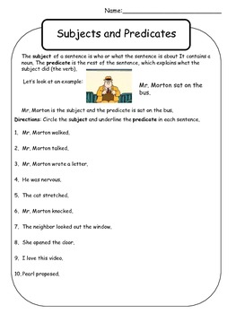 Subject and Predicate Worksheet - Mr. Morton by Kelly Malloy ...