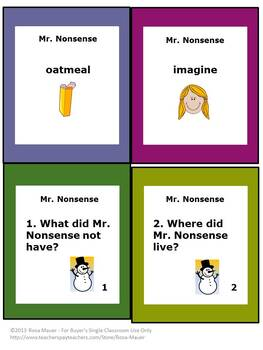 Mr. Nonsense Early Literacy Task Cards
