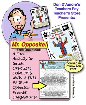 Mr. Opposite Activity! A Fun Way To Teach Opposites From Don D'Amore TPT!