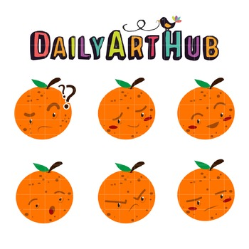 Mr Orange Emoticon Clip Art - Great for Art Class Projects!