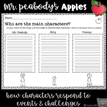 Mr. Peabody's Apples Characters changing, lessons learned & graphic organizers