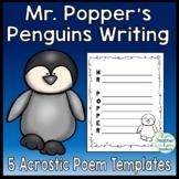 Mr. Popper's Penguins Writing Activity - 5 Acrostic Poem Templates