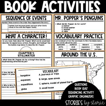 Mr. Popper's Penguins Book Questions, Vocabulary, & Penguin Craft