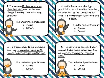 Mr. Popper's Penguins Cause and Effect Task Cards (Color & B/W versions)