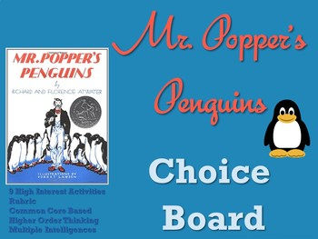 Mr. Popper's Penguins Choice Board Novel Study Activities Menu Book Project