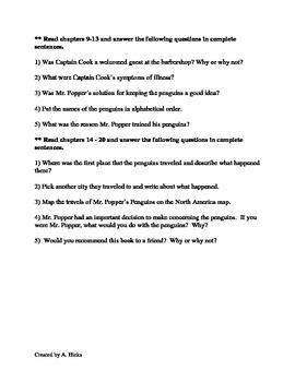 Mr. Popper's Penguins Comprehension Guide