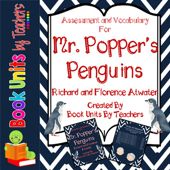 Mr. Popper's Penguins Comprehension Questions, Vocabulary, and Test