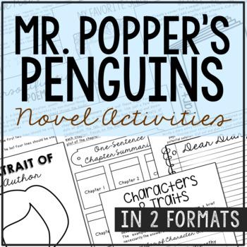 Mr. Popper's Penguins Interactive Notebook Novel Unit Stud