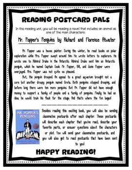 Mr. Popper's Penguins - Literacy Unit Postcard Pals!