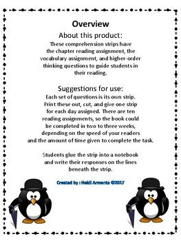 Mr. Popper's Penguins Novel Study Comprehension Strips