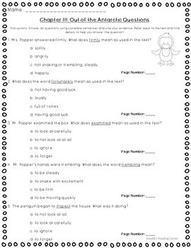 Mr. Popper's Penguins Reading Comprehension Questions and Lesson Plans