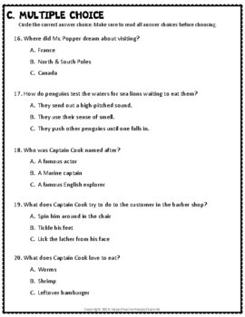 Mr. Popper's Penguins Test: Final Book Quiz with Answer ...