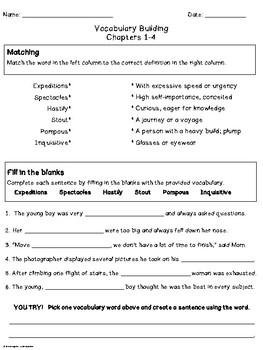 Mr. Popper's Penguins- Vocabulary Pages