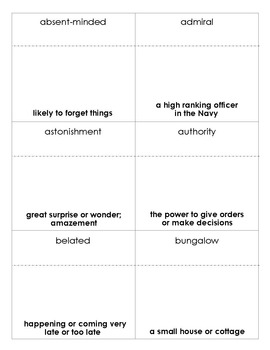 Mr. Popper's Penguins Vocabulary bingo
