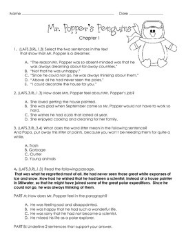 Mr. Popper's Penguins 3rd Grade Florida Standards Sample Novel Study {Ch. 1 -3}