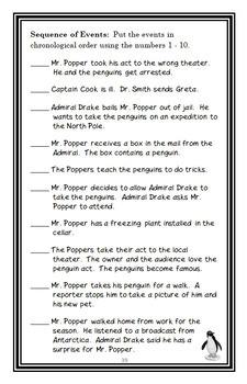 Mr. Popper's Penguins (Atwater) Novel Study / Reading Comprehension