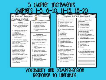 Mr. Popper's Penguins- Chapter Assessments Vocabulary, Comprehension,