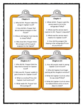 MR. POPPER'S PENGUINS - Discussion Cards