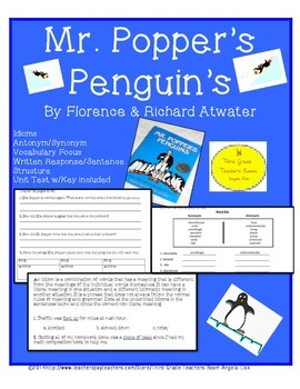 Mr.. Popper's Penguins Interactive Common Core Aligned Novel Study