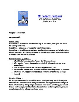 Mr. Poppers Penguins Lapbook Materials