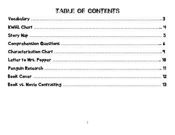 Mr. Popper's Penguins Novel Study