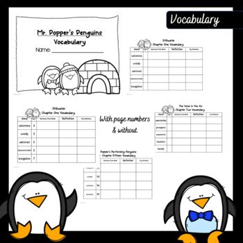 Mr. Popper's Penguins Novel Study (Test, Questions, Activities, & Vocabulary)