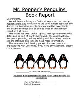 3rd Grade Mr. Popper's Penguins Novel Study, Book Report Teaching Kit and Tools