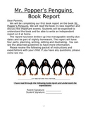 3rd Grade Mr. Popper's Penguins Novel Study, Book Report T