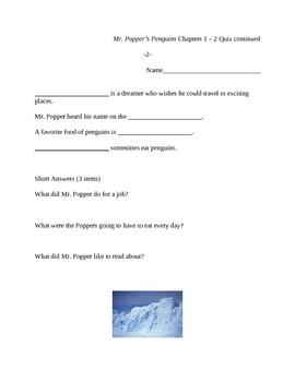 Mr. Popper's Penguins Quizzes and Test