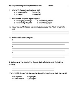 Mr. Popper's Penguins Test