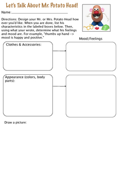Mr. Potato Head Activity for learning feelings